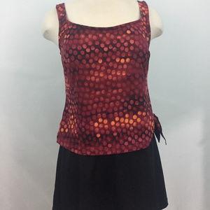 Via Marina Red w/ Black One Piece Swimsuit Sz-12